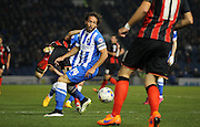 Brighton's Inigo Calderon on the ball during the Sky Bet Championship match between Brighton and Hove Albion and Bournemouth at the American Express Community Stadium, Brighton and Hove, England on 10 April 2015. Photo by Phil Duncan.