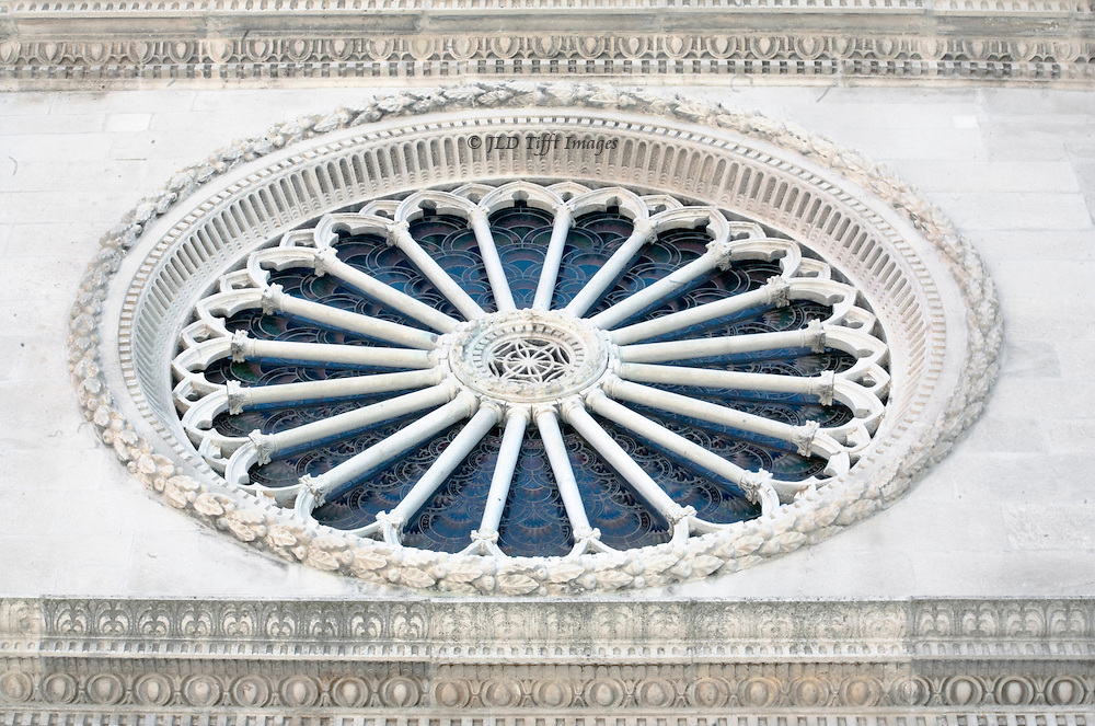 Sibenik, Cathedral of St. James, built 1431-1535.  Architects Juraj (George) of Dalmatia and Niccolo of Florence. Rose window from the outside.