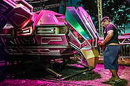 "A crew member of the Pop company cleans the cherished Eagle before the show. The Pop Live - 2016 version of the Superpop, ""the fire eagle, the crowd pusher"", one of the biggest machines in Belem. Preparatives for the ""Festa da Cerveja"" (yearly Beer Party) in Igarapé Açu. The most expected soundmachines show of the Year with DJ's Elison & Juninho, the most famous of the Tecnobrega scene..."