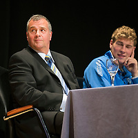 St Johnstone FC Youth Academy Presentation Night at Perth Concert Hall..21.04.14<br /> Alistair Stevenson listens to Tommy Wright's talk<br /> Picture by Graeme Hart.<br /> Copyright Perthshire Picture Agency<br /> Tel: 01738 623350  Mobile: 07990 594431