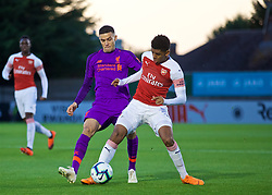 LONDON, ENGLAND - Friday, August 17, 2018: Liverpool's  Isaac Christie-Davies (left) and Arsenal's Tyreece John Jules (right) during the Under-23 FA Premier League 2 Division 1 match between Arsenal FC and Liverpool FC at Meadow Park. (Pic by David Rawcliffe/Propaganda)