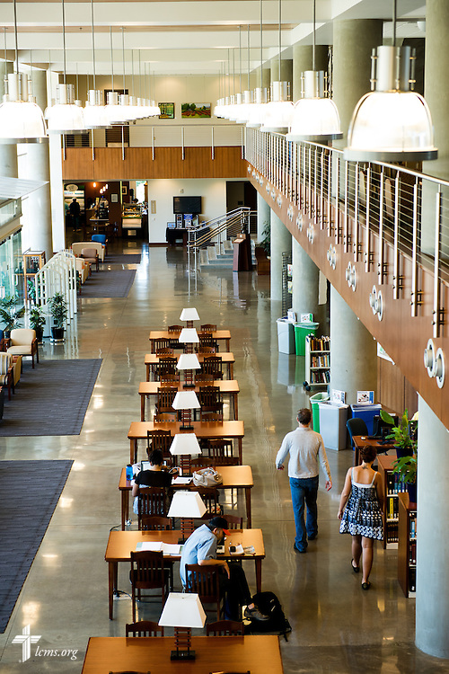 Students walk to class in the George R. White Library and Learning Center at Concordia University on Friday, July 11, 2014, in Portland, Ore. LCMS Communications/Erik M. Lunsford