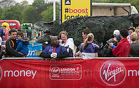 Celebrities and large costumes photographed at the start of the Virgin Money London Marathon 2015, Sunday 26th April 2015.  <br /> <br /> Roger Allen for Virgin Money London Marathon<br /> <br /> For more information please contact Penny Dain at pennyd@london-marathon.co.uk