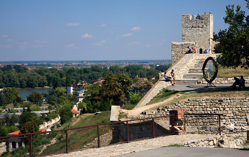 Kalemegdan Citadel; view over rivers; cityscape beyond; trees; buildings; Belgrade; Serbia; summer