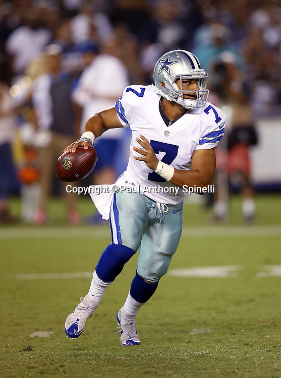 Dallas Cowboys quarterback Jameill Showers (7) scrambles and throws a fourth quarter pass for a gain of 8 yards during the 2015 NFL preseason football game against the San Diego Chargers on Thursday, Aug. 13, 2015 in San Diego. The Chargers won the game 17-7. (©Paul Anthony Spinelli)