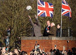 The ball is turned up by former Queen Elizabeth Grammar School teacher Barry Greenwood - Mandatory byline: Robbie Stephenson/JMP - 09/02/2016 - FOOTBALL -  - Ashbourne, England - Up'Ards v Down'Ards - Royal Shrovetide Football