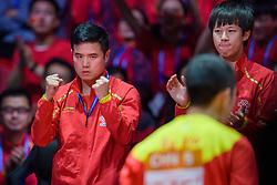 May 6, 2018 - Halmstad, SVERIGE - 180506 Kinas förbundskapten Liu Guozheng jublar i herrarnas final mellan Tyskland och Kina under dag 8 av Lag-VM i Bordtennis den 6 maj 2018 i Halmstad  (Credit Image: © Carl Sandin/Bildbyran via ZUMA Press)