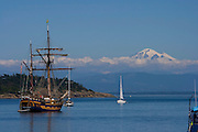 Sailboats, Echo Bay,  Sucia State Park, San Juan Islands, Washington State