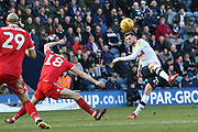 Nottingham Forest defender Jack Robinson (18) blocks the shot from Preston North End forward Tom Barkhuizen (29) during the EFL Sky Bet Championship match between Preston North End and Nottingham Forest at Deepdale, Preston, England on 16 February 2019.