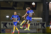 Shrewsbury Town midfielder Abu Ogogo (8) heads the ball during the EFL Sky Bet League 1 match between Northampton Town and Shrewsbury Town at Sixfields Stadium, Northampton, England on 20 March 2018. Picture by Dennis Goodwin.