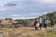 Family hikes on the Diane Gabriel Trail at Makoshika State Park in Glendive, Montana, USA