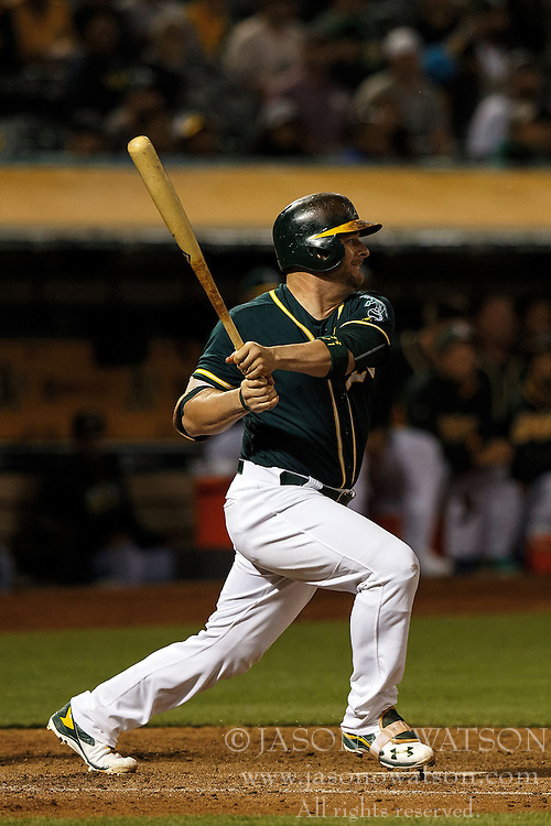 OAKLAND, CA - JULY 19:  Stephen Vogt #21 of the Oakland Athletics at bat against the Houston Astros during the seventh inning at the Oakland Coliseum on July 19, 2016 in Oakland, California. The Oakland Athletics defeated the Houston Astros 4-3 in 10 innings.  (Photo by Jason O. Watson/Getty Images) *** Local Caption *** Stephen Vogt