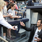 Johnny Damon signing autographs before the New York Yankees V Boston Red Sox baseball game at Yankee Stadium, The Bronx, New York. 13th April 2014. Photo Tim Clayton