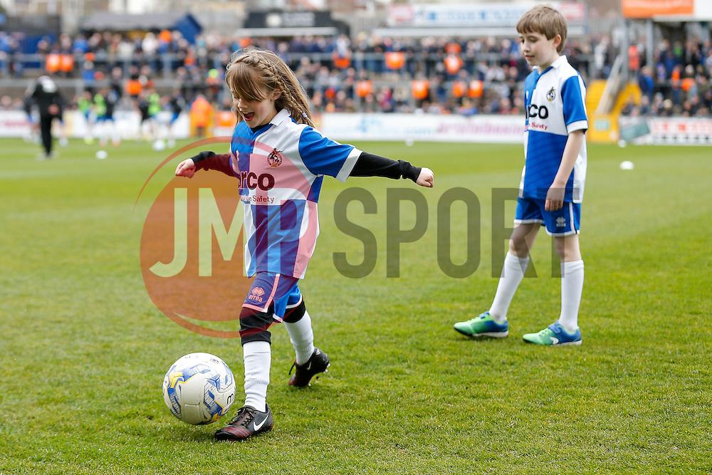 Mascots - Photo mandatory by-line: Rogan Thomson/JMP - 07966 386802 - 03/04/2015 - SPORT - FOOTBALL - Bristol, England - Memorial Stadium - Bristol Rovers v Chester - Vanarama Conference Premier.