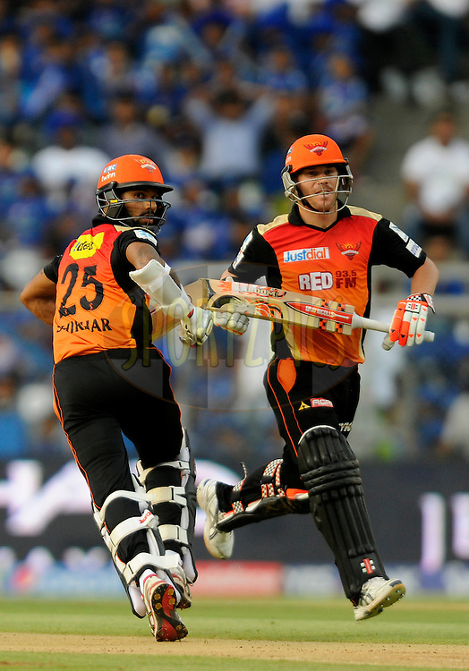 Shikhar Dhawan of Sunrisers Hyderabad and David Warner of Sunrisers Hyderabad run between the wickets during match 23 of the Pepsi IPL 2015 (Indian Premier League) between The Mumbai Indians and The Sunrisers Hyferabad held at the Wankhede Stadium in Mumbai India on the 25th April 2015.<br /> <br /> Photo by:  Pal Pillai / SPORTZPICS / IPL