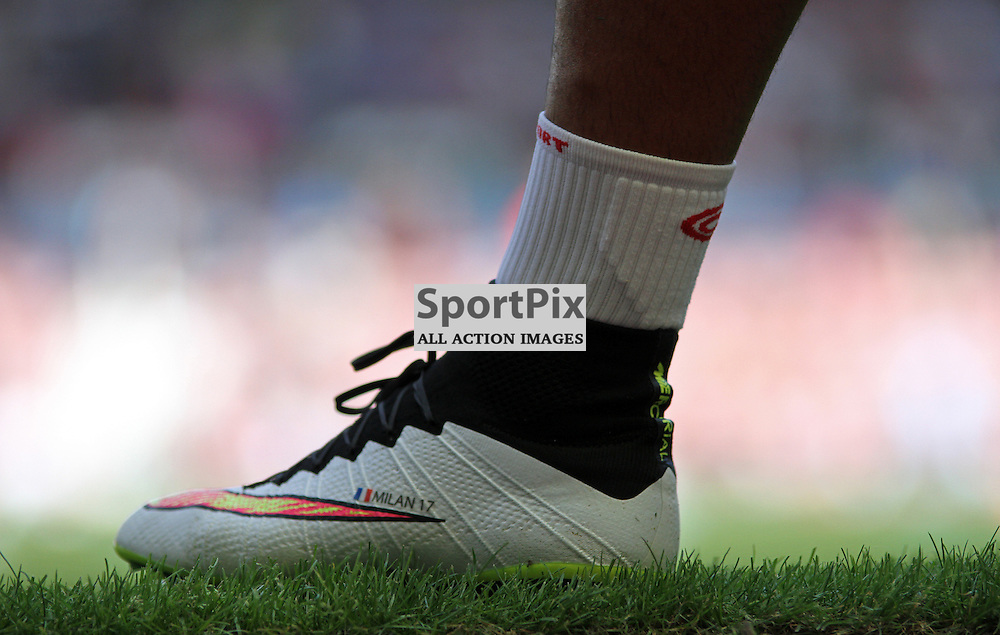 Dimitri Payet wears boots with the name of his daughter Milan Payet on his left boot before West Ham United vs Bournemouth FC on Saturday the 22nd August 2015