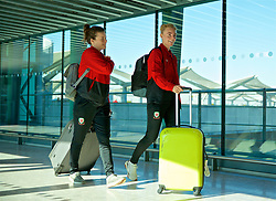 LONDON, ENGLAND - Monday, February 25, 2019: Wales' Hayley Ladd (L) and captain Sophie Ingle (R) arrive at Heathrow Airport as they travel to Marbella for a training camp and friendly games against Republic of Ireland. (Pic by David Rawcliffe/Propaganda)