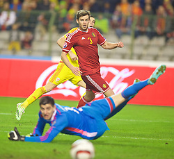 BRUSSELS, BELGIUM - Sunday, November 16, 2014: Wales' Gareth Bale sees his shot go wide of the Belgium goal during the UEFA Euro 2016 Qualifying Group B game at the King Baudouin [Heysel] Stadium. (Pic by David Rawcliffe/Propaganda)