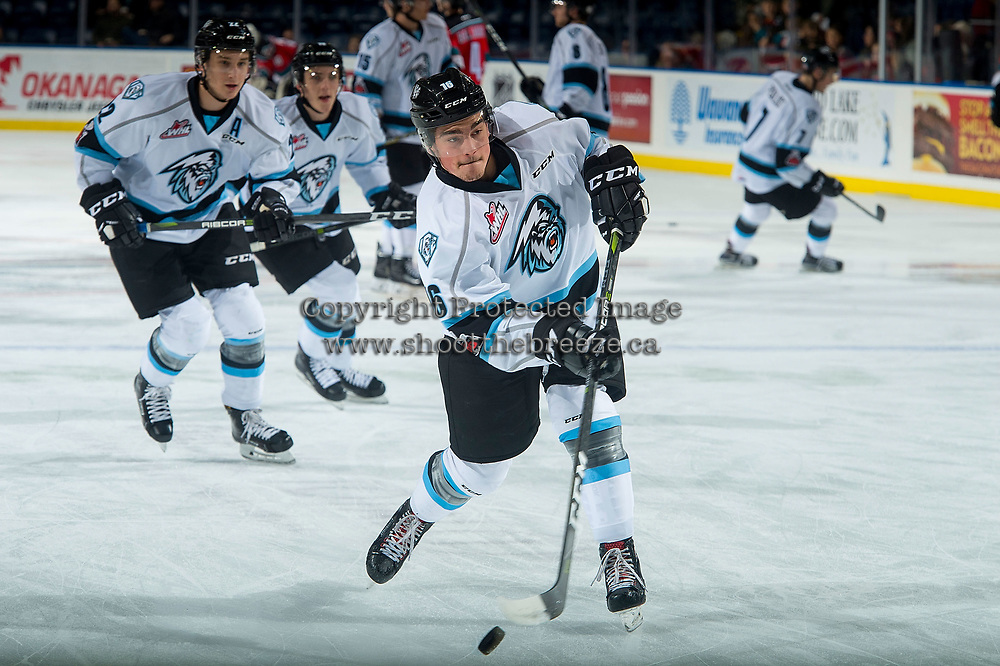KELOWNA, CANADA - DECEMBER 2: Colton Veloso #16 of the Kootenay Ice warms up with a shot on net against the Kelowna Rockets on December 2, 2017 at Prospera Place in Kelowna, British Columbia, Canada.  (Photo by Marissa Baecker/Shoot the Breeze)  *** Local Caption ***