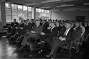 03/07/1963<br /> 07/03/1963<br /> 03 July 1963<br /> American executives of N.C.R. visit Dublin. Two top executives of the Dayton, Ohio, headquarters of the National Cash Register Company, one of the world's foremost manufacturers of cash registers, accounting machines and electronic computers, visiting Dublin. Picture shows view of attendance at talk at the Kilmainham offices.