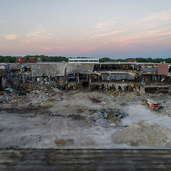 Demolition underway of Metcalf South Shopping Mall in Overland Park, Kansas, June 2017.
