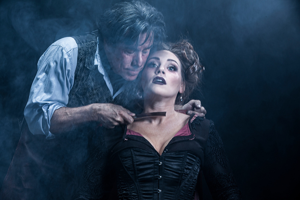 UVU Promotional photos for Sweeney Todd: The Demon Barber of Fleet Street Starring Tony Nominee Jeff McCarthy, a true Broadway leading man, as Sweeney, and Jacquelyne Jones, Chicago's Joseph Jefferson award winner, as Mrs. Lovett,  in our studio on the campus of Utah Valley University in Orem, Utah, Monday Oct, 7 2019. (August Miller, UVU Marketing)