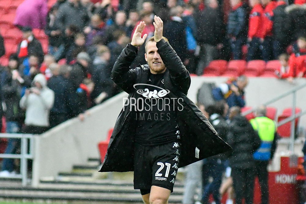 Samuel Saiz (21) of Leeds United applauds the Leeds fans at full time after the 3-0 win during the EFL Sky Bet Championship match between Bristol City and Leeds United at Ashton Gate, Bristol, England on 21 October 2017. Photo by Graham Hunt.
