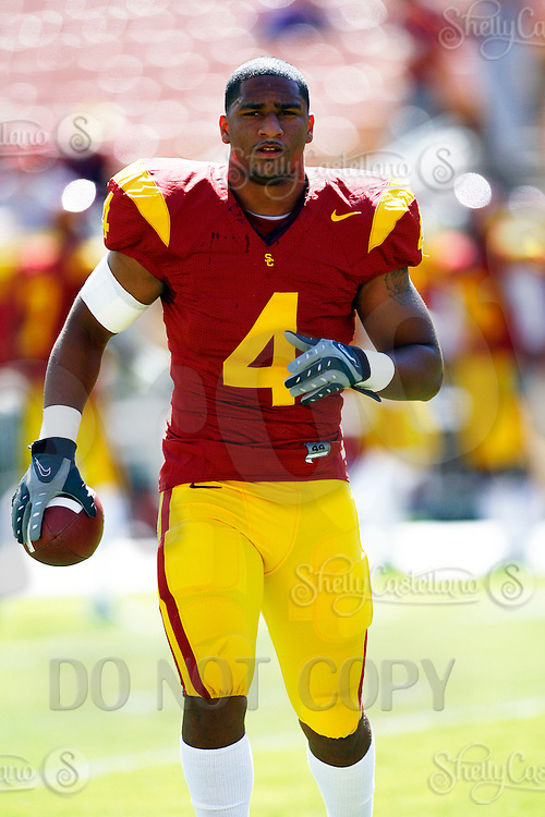 11 October 2008: #4 Joe McNight without a helmet before the NCAA Pac-10 USC Trojans 28-0 shut-out win over the Arizona State University Sun Devils during a day college football game at the Los Angeles Memorial Coliseum in Southern California.