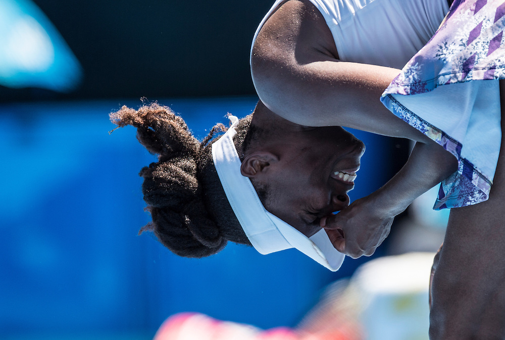 Venus Williams of the United States takes on Kateryna Kozlova of the Ukraine during their first round match on day one of the 2017 Australian Open in Melbourne, Australia on January 16, 2017.<br /> (Ben Solomon/Tennis Australia)