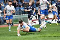 Sebastian Negri Italy scores a try. Meta <br /> Roma 17/03/2018, Stadio Olimpico <br /> NatWest 6 Nations Championship <br /> Trofeo Sei Nazioni <br /> Italia - Scozia / Italy - Scotland <br /> Foto Andrea Staccioli / Insidefoto