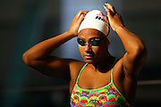 Gabrielle Fa'amausili during warmup, New Zealand Open Swimming Champs, Day 3, West Wave Aquatic center, Waitakere, Auckland. 16 April 2015. Copyright Photo: William Booth / www.photosport.co.nz