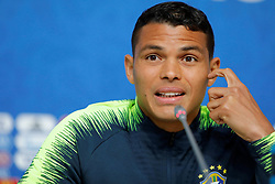 June 21, 2018 - Saint Petersburg, Russia - Thiago Silva of Brazil national team attends a press conference during the FIFA World Cup 2018 on June 21, 2018 at Saint Petersburg Stadium in Saint Petersburg, Russia. (Credit Image: © Mike Kireev/NurPhoto via ZUMA Press)