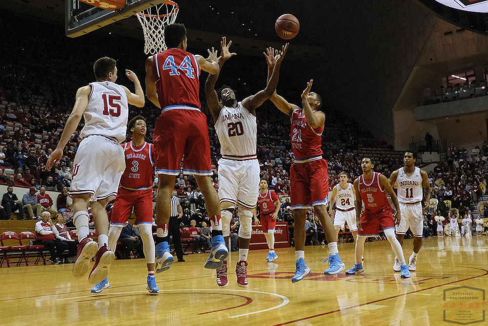 Indiana forward De'Ron Davis (20) in action as Delaware State played Indiana in an NCCA college basketball game, in Indianapolis, Monday, Dec. 19, 2016. (AJ Mast)