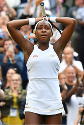July 1, 2019, London, England, United Kingdom: CORI GAUFF, USA, wins her 1st round ladies singles against V. Williams, of USA, at the Wimbledon Tennis Championships 2019 on day 1 held at the All England Lawn Tennis and Croquet Club. (Credit Image: © Ray Tang/ZUMA Wire)