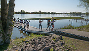 Brandenburg. GERMANY. GBR W8+after returning from a training session at the <br /> 2016 European Rowing Championships at the Regattastrecke Beetzsee<br /> <br /> Thursday  05/05/2016<br /> <br /> [Mandatory Credit; Peter SPURRIER/Intersport-images]