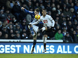 Thomas Ince of Derby County closes down Jonathan Grounds of Birmingham City - Mandatory byline: Robbie Stephenson/JMP - 16/01/2016 - FOOTBALL - iPro Stadium - Derby, England - Derby County v Birmingham City - Sky Bet Championship