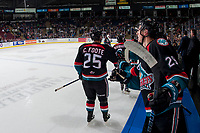 KELOWNA, CANADA - SEPTEMBER 22: Cal Foote #25 of the Kelowna Rockets skates past the bench to celebrate a goal against the Kamloops Blazers on September 22, 2017 at Prospera Place in Kelowna, British Columbia, Canada.  (Photo by Marissa Baecker/Shoot the Breeze)  *** Local Caption ***