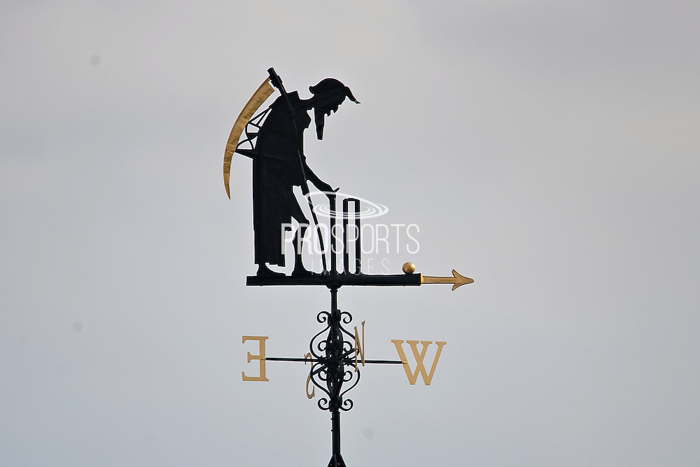 Old Father Time looks down over lords for the first time since being repaired during the NatWest T20 Blast South Group match between Middlesex County Cricket Club and Hampshire County Cricket Club at Lord's Cricket Ground, St John's Wood, United Kingdom on 18 June 2015. Photo by David Vokes.