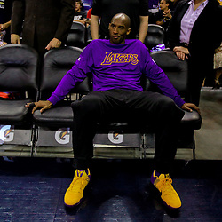 Apr 8, 2016; New Orleans, LA, USA; Los Angeles Lakers forward Kobe Bryant before a game against the New Orleans Pelicans at the Smoothie King Center. Mandatory Credit: Derick E. Hingle-USA TODAY Sports