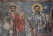 Fresco of saints in the choir of the Dormition of Saint Mary Cathedral Church, or Kisha Katedrale Fjetja e Shen Marise, built 1699, Voskopoje, Korce, Albania. The church contains frescoes by Theodor Anagnost and Sterian from Agrapha in Greece, and the large icons in the iconostasis were painted 1703 by Constantine Lemoronachos. Picture by Manuel Cohen