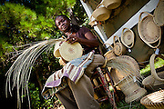 Barbara Manigault, a Gullah sweet grass basket weaver at her stand in Mt Pleasant, SC.