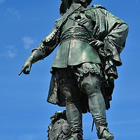 Gustavus Adolphus Statue in Gothenburg, Sweden<br /> This bronze statue of King Gustav II Adolf celebrates when he pointed towards the ground in 1621 and declared where Gothenburg should be built.  The original sculpture of the city&rsquo;s founding father by Bengt Erland Fogelberg was erected in 1854 at Stortorget.  The Big Square was renamed the Gustaf Adolfs torg in 1959.