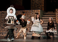"Cogsworth (Ryan Witham),  Lumeire (Taryn Fountain), Mrs. Potts (Kaelin Cegelski) and Babette (Jacqueline Nash) want to be ""Human Again"" during dress rehearsal for ""Beauty and the Beast"" with Gilford Middle School Tuesday afternoon. .  (Karen Bobotas/for the Laconia Daily Sun)"