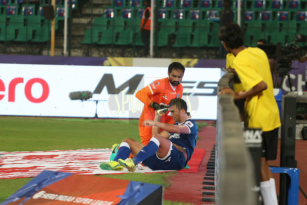 Mailson Alves  of Chennaiyin FC is injured after hitting the advertising boards during match 6 of the Hero Indian Super League between Chennaiyin FC and NorthEast United FC held at the Jawaharlal Nehru Stadium, Chennai, India on the 23rd November 2017<br /> <br /> Photo by: Ron Gaunt / ISL / SPORTZPICS