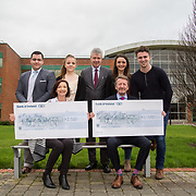 10.03.2017<br /> UL, Kemmy Business School Cheque presentations to Pieta House and Temple Street Childrens Hospital.<br /> Pictured are back left to right, Romain Fachero, Economics Dept Rep, Elisabeth Small, Accounting Rep, Dr. Philip O'Regan, Dean Kemmy Business School, Jean Langford, Marketing and Management Rep and Sean Fitzgerald, KBS Faculty Rep with seated, Annette Cahill, Pieta House and Karl Daly, Temple street rep. Picture: Alan Place