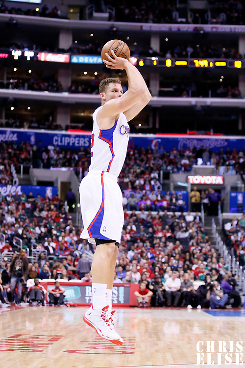 08 January 2014: Los Angeles Clippers power forward Blake Griffin (32) takes a jumpshot during the Los Angeles Clippers 111-105 victory over the Boston Celtics at the Staples Center, Los Angeles, California, USA.