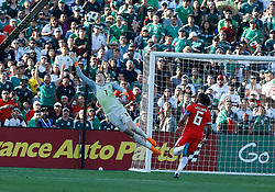 May 28, 2018 - Pasadena, CA, U.S. - PASADENA, CA - MAY 28: Wayne Hennessey of Wales makes a save  during the game against Mexico on May 28, 2018, at the Rose Bowl in Pasadena, CA.  (Photo by Adam  Davis/Icon Sportswire) (Credit Image: © Adam Davis/Icon SMI via ZUMA Press)