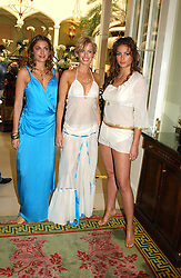 Left to right, LAURE DE CLERMONT-TONNERRE, CAROLINE HABIB and SASKIA BOXFORD at a fashion show of Sybil Stanislaus Summer 2005 collection with jewellery by Philippa Holland held at The Lanesborough Hotel, Hyde Park Corner, London on 13th April 2005.<br />