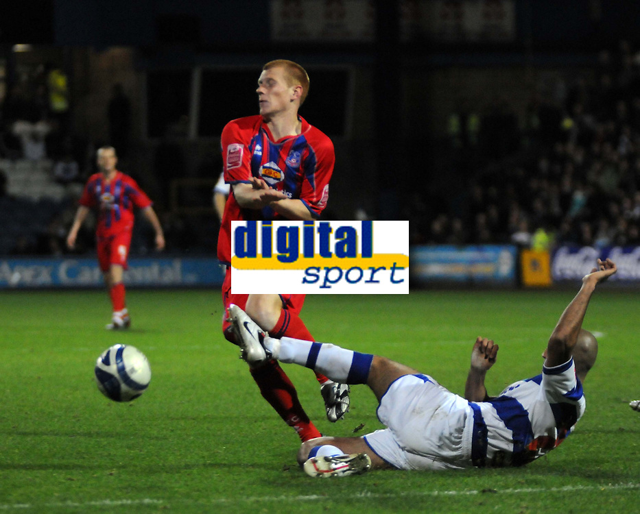 Photo: Tony Oudot/Sportsbeat Images.<br /> Queens Park Rangers v Crystal Palace. Coca Cola Championship. 04/12/2007.<br /> Ben Watson of Crystal Palace is challenged by Zesh Rehman of QPR