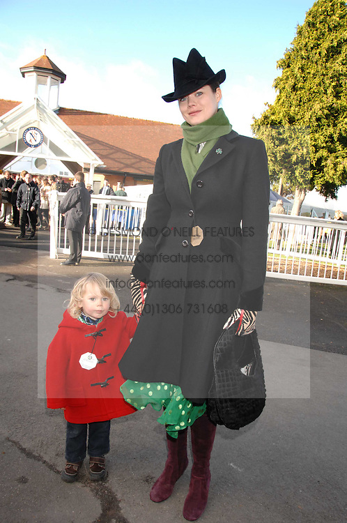 JASMINE GUINNESS and her son OTIS at the 2007 Hennessy Gold Cup held at Newbury racecourse, Berkshire on 1st December 2007.<br />